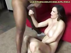 A white Mom gets covered in a black mans cum as he busts his huge black nuts all over her chest and face her son walks over when she is done and thanks her for teaching him a lesson