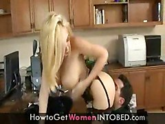 stockings cumshot hardcore blonde blowjob shaved titjob bigtits pussyfucking office