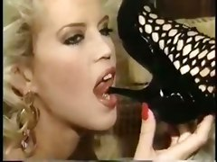lesbian vintage blonde milf big tits heels fingering ass brunette toys dildo orgasm strap on
