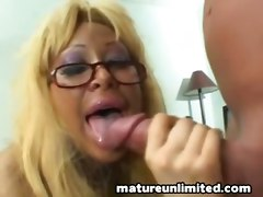 big tits mature cum in mouth blonde glasses