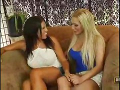 lesbian blonde milf brunette tattoo shaved vibrator toy sofa bigtits titlicking pussylicking kissing