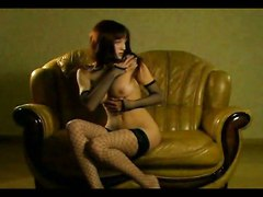 Couch Skinny Tight Teasing Pornstar Brunette Big Tits Natural Fishnet Stockings Dancing Rubbing Babe