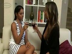 lesbians kiss lick stockings tits