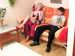 Blonde Milf Tastes Teen Dick!