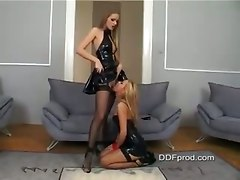 latex lesbians stockings fishnet strap on pussy shaved