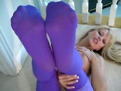 Feet Blonde Foot Legs Stockings Fashioned Nylons Jana Cova Solo Softcore Petite Other Fetish