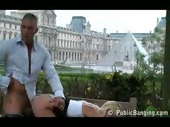 outdoor public european blonde doggystyle