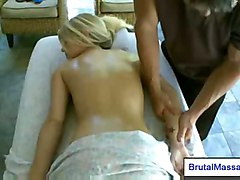 blonde petite oil massage
