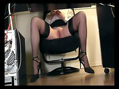 secretary office spycam stockings lingerie heels legs pussy masturbation hidden voyeur desk shaved