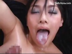 Girl With Oiled Body Getting Her Pussy Fucked By 2 Guys Cum To Tits And Mouth