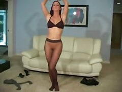 redhead bigtits solo lingerie stripping teasing pantyhose