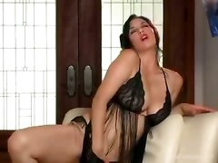  lingerie brunette big tits babe pussy rubbing solo masturbation natural hairy