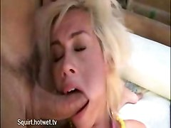 Slutty Teenage Blonde Sucks Hard Cock While On Bondage