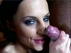 cum suck red dick blowjob brunette