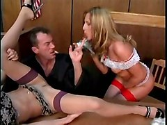 stockings cumshot hardcore blowjob threesome pussyfucking