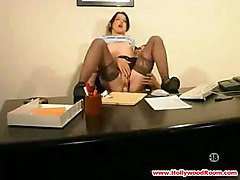 anal stockings cumshot blowjob brunette pussyfucking office
