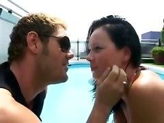 teen brunette pool small tits blowjob petite