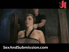 bondage slave brunette tattoo spanking fingering big tits pussylicking face fuck tight bdsm fetish latex rough sex