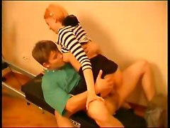 Woman in pantyhose and young boy fucking in the gym
