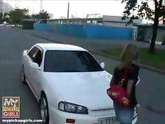 Pickup and blowjob in car