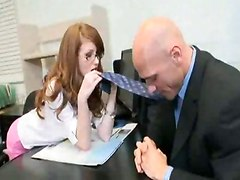 red haired spread fucking sucking office