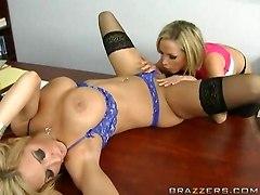 big tits pussy eating lesbian stockings