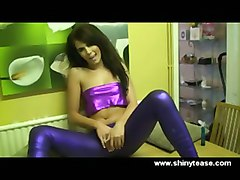 shiny slut spandex teen pierced soloist black hair dildo