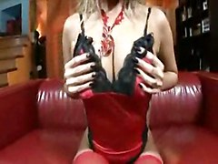 stockings cumshot hardcore blonde oiled blowjob fingering titjob sofa pussylicking pussyfucking