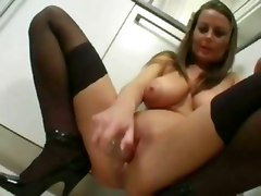 solo big tits dildo toy jill off kitchen solo masturbation milf