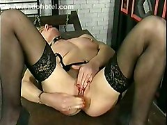Horny Slave Lying On A Table Fucks Herself With A Dildo  Plays With Her Clit And Licks Off Her Own Juice