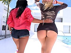 brunette  tease  big ass  ass shaking  pool side  miami  tease  no sex Alexis Texas  Mariah Milano