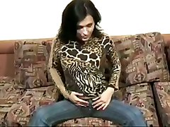 Russian Amateur Chick Masturbates On The Couch