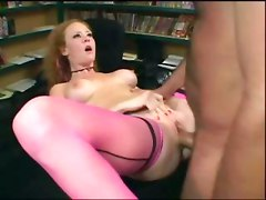 Audrey Hollander fucking thigh high seamed stockings stilettos nylons redhead heels