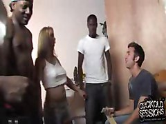Blacks sharing a blonde in front of cuckold