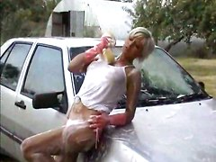 outdoor blonde tight car wet big tits striptease rubbing teasing reality