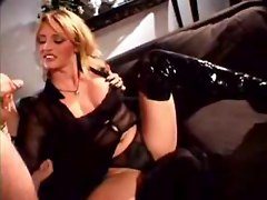 wife milf blonde handjob latex fetish big tits cumshot facial