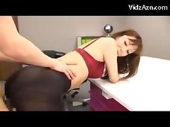 Mature Lady In Stockings With Hole Giving Footjob Getting Her Pussy Fucked On The Table By Younger Guy In The Office