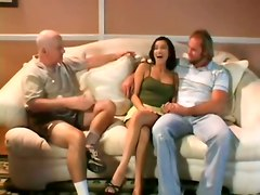 cumshot hardcore milf blowjob brunette wife threesome sofa pussyfucking voyeur