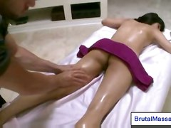 brunette oil hairy massage