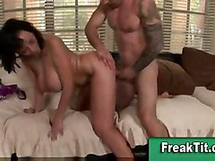 cumshot fucking hardcore milf brunette slut doggystyle tattoo shaved mature titjob busty bigtits couple gazongas jugs