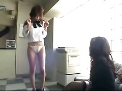 kiss brunette Japanese lesbians strip