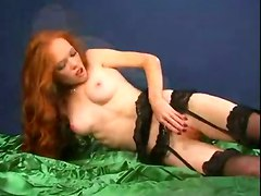 stockings skinny redhead smalltits masturbation solo hairypussy smallbreasts