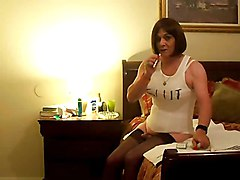 amateur crossdresser solo dildo sex toy stockings