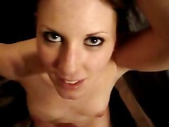 Amateur Woman Stares Into The Camera While Swallowing Cum
