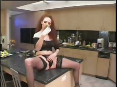 anal stockings blowjob redhead gagging kitchen highheels assfucking cucumber insertion vegetables