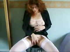 amateur homemade stockings rubbing mature lingerie masturbation solo fingering dildo toys hardcore brunette glasses