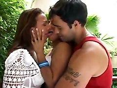 threesome brunette brazilian latina lingerie kissing pussylicking lesbian blowjob ass licking doggystyle riding anal cumshot tight rubbing