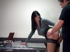 stockings hardcore creampie milf brunette glasses pussyfucking office