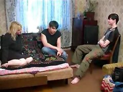 Russian mom makes love to two young boys