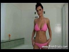 big tits striptease solo shower bikini